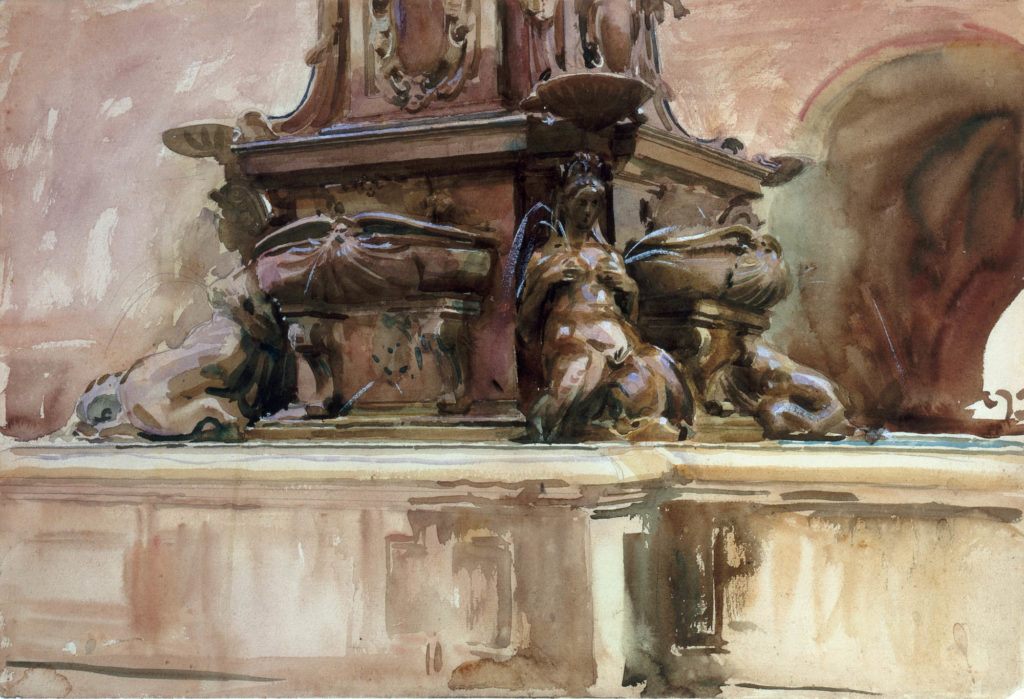 a watercolour of a fountain with carved female figures