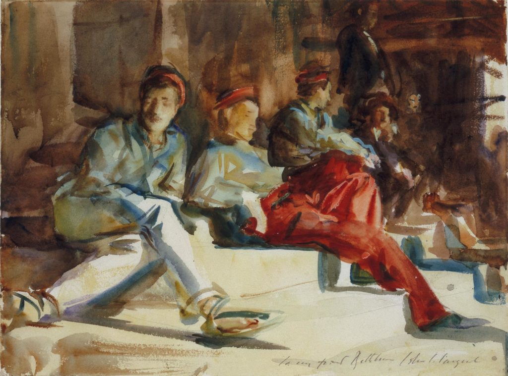 a colour sketch of a group of men in caps and red trousers resting on steps