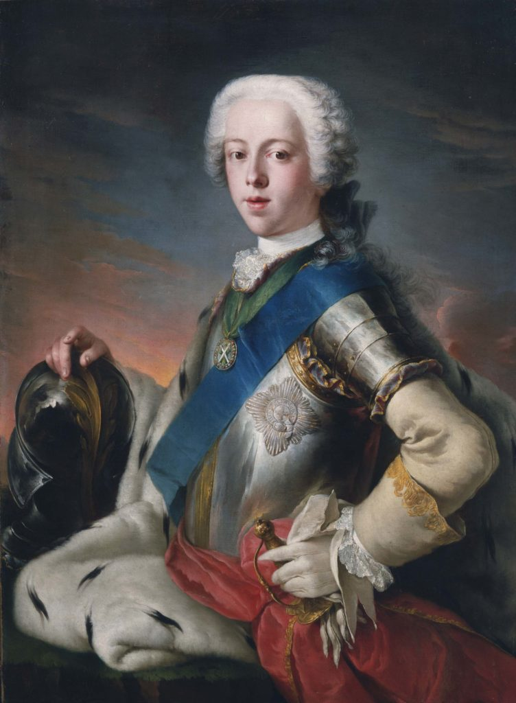 a painted portrait of Bonnie Prince Charlie with blue sash, breastplate and powdered wig