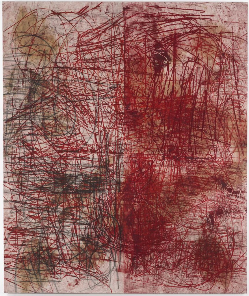 an abstract canvass mad up of red lines and slash marks