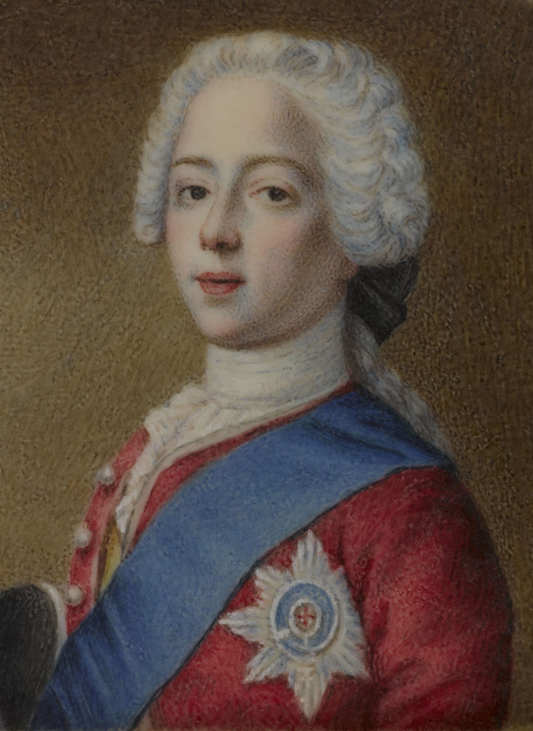 a portrait of a young Bonny Prince Charlie in red coat blue sash and powdered wig