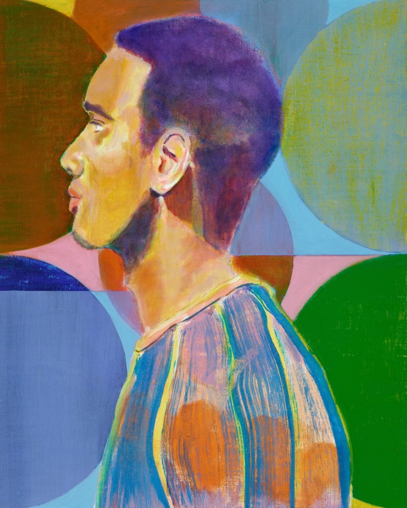 a side profile painted portrait of a young man in a colourful sweater