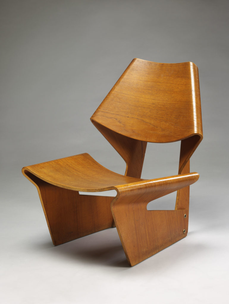photograph of 1960s moulded plywood chair