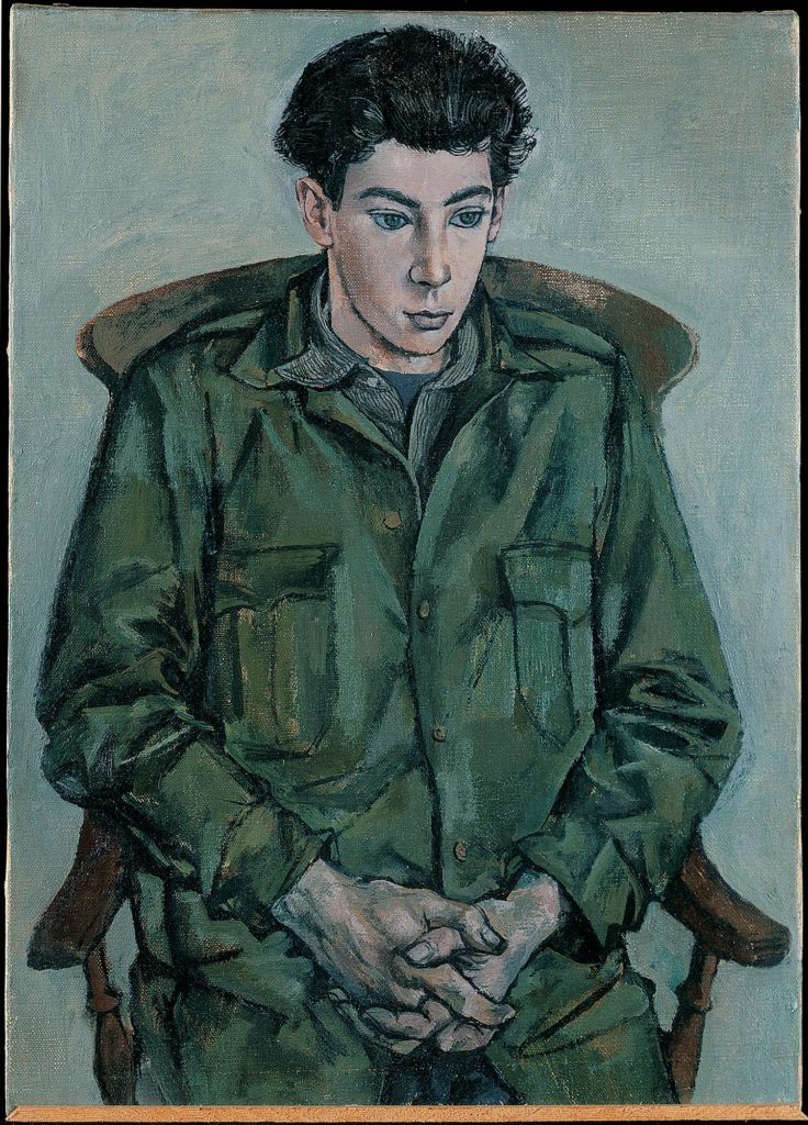 a painting of a young man wearing olive green fatigues seated in a chair