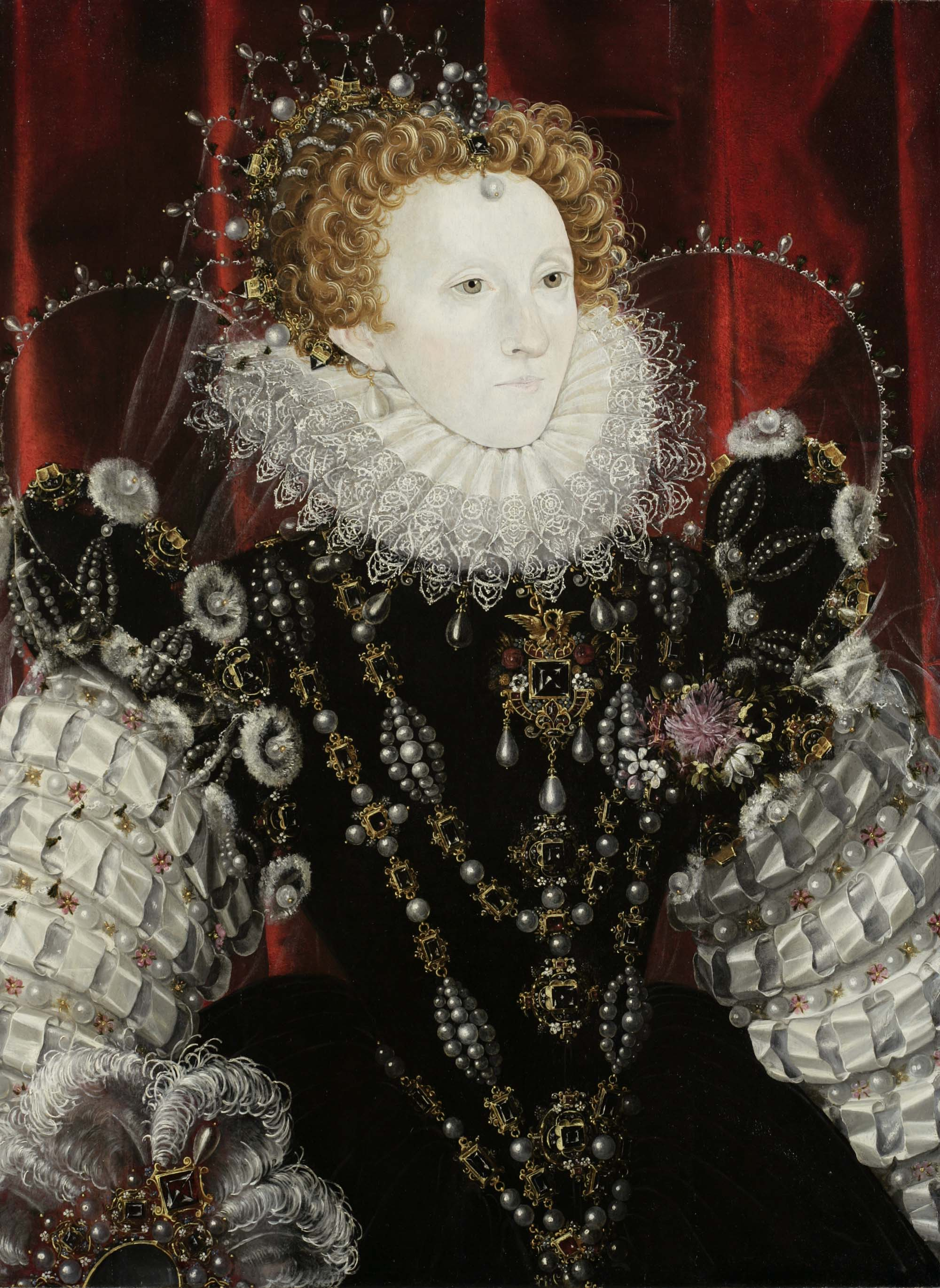 a portrait of Queen Elizabeth I in her royal dress and ruffles