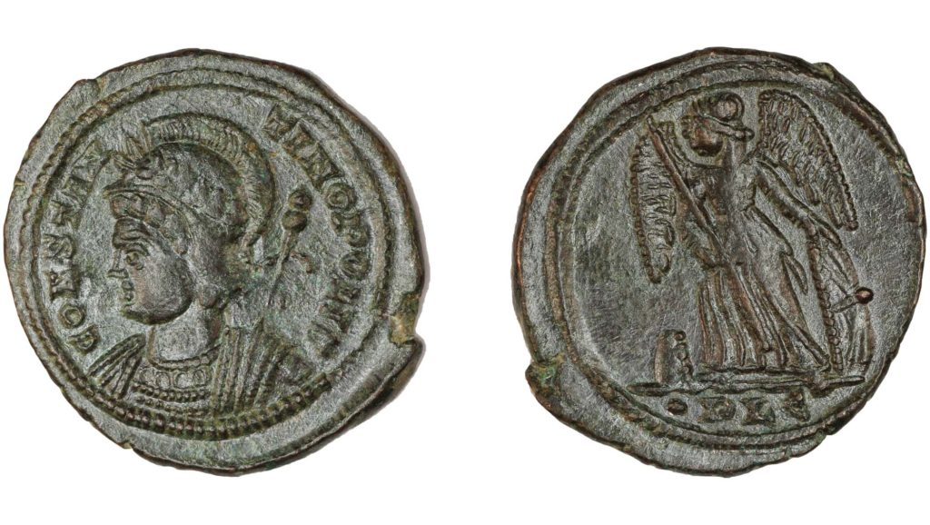 a photo of two sides of a coin showing a winged figure