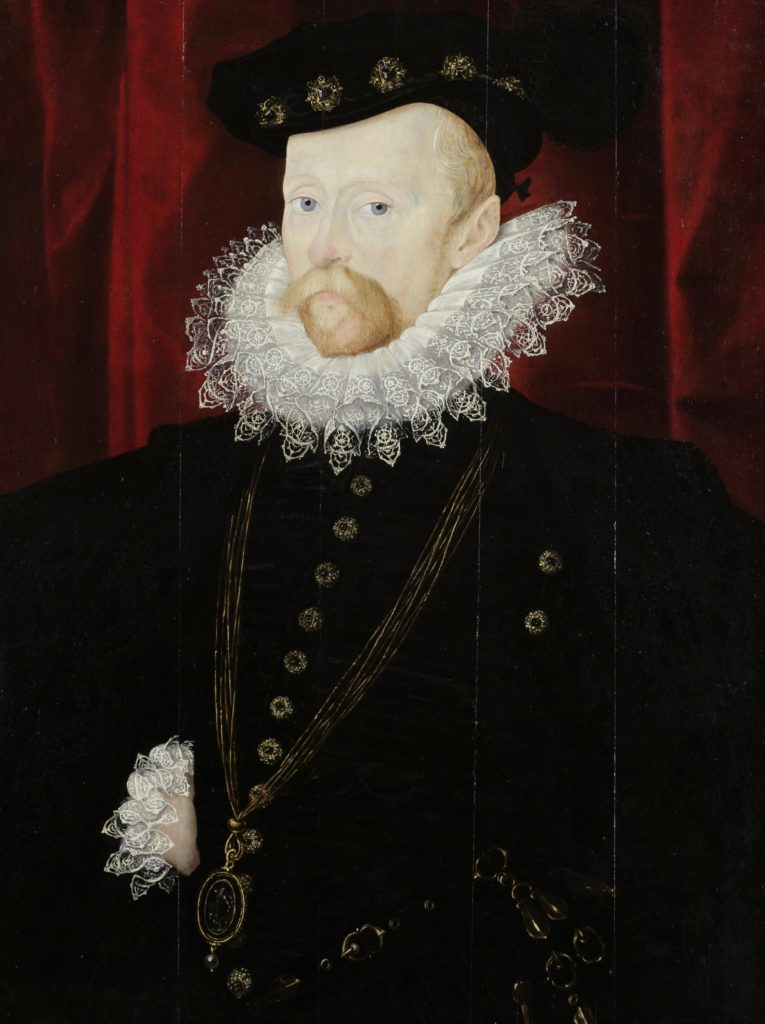 a painted portrait of a man with a beard and ruffled collar