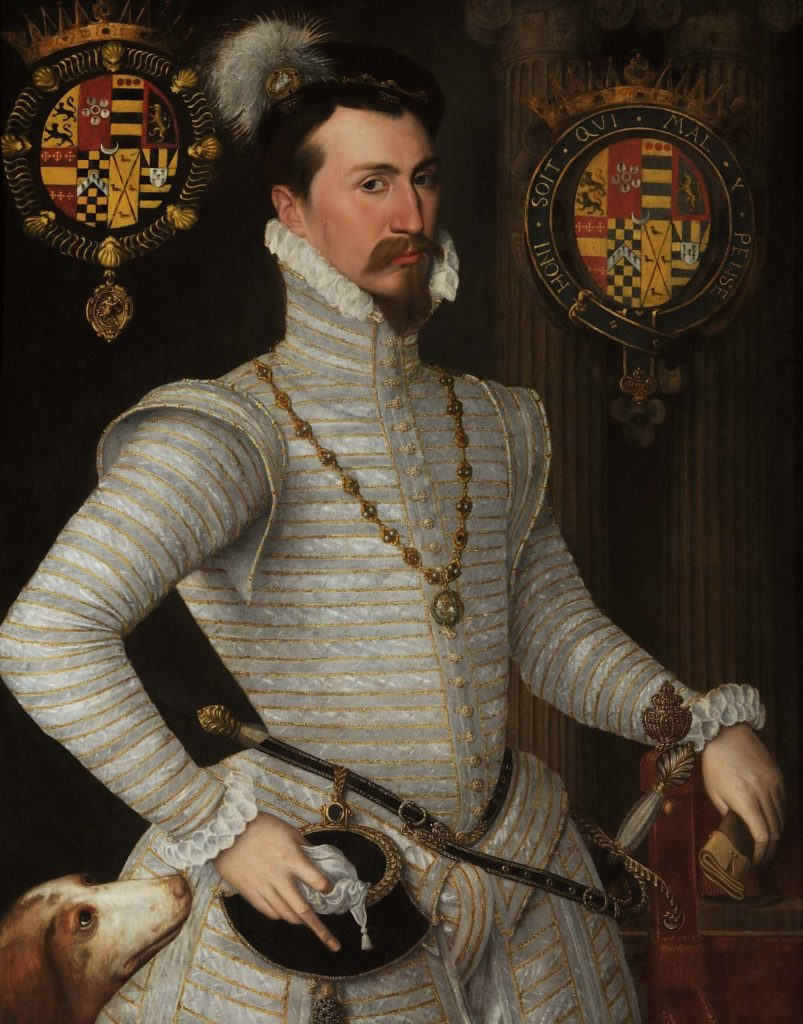 a painted portriat of a man in Elizabethan court dress