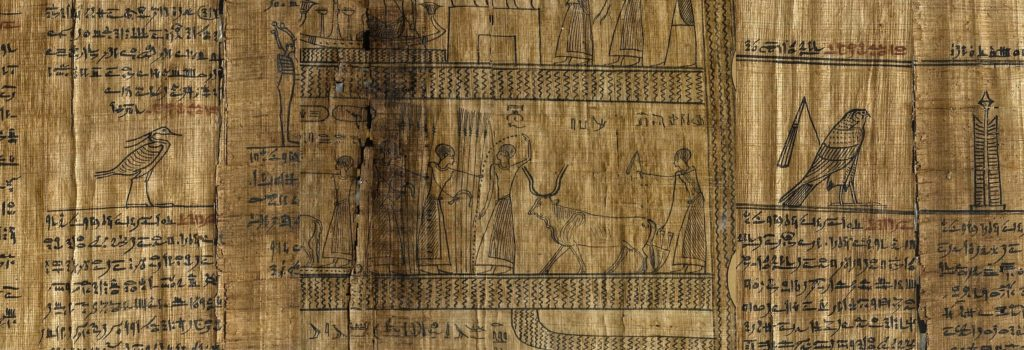 a picture showing three details from a papyrus with Egyptian symbols, figures and hieroglyphs