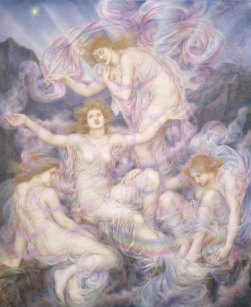 a painting showing a group of women bathed in silk and swirling mists