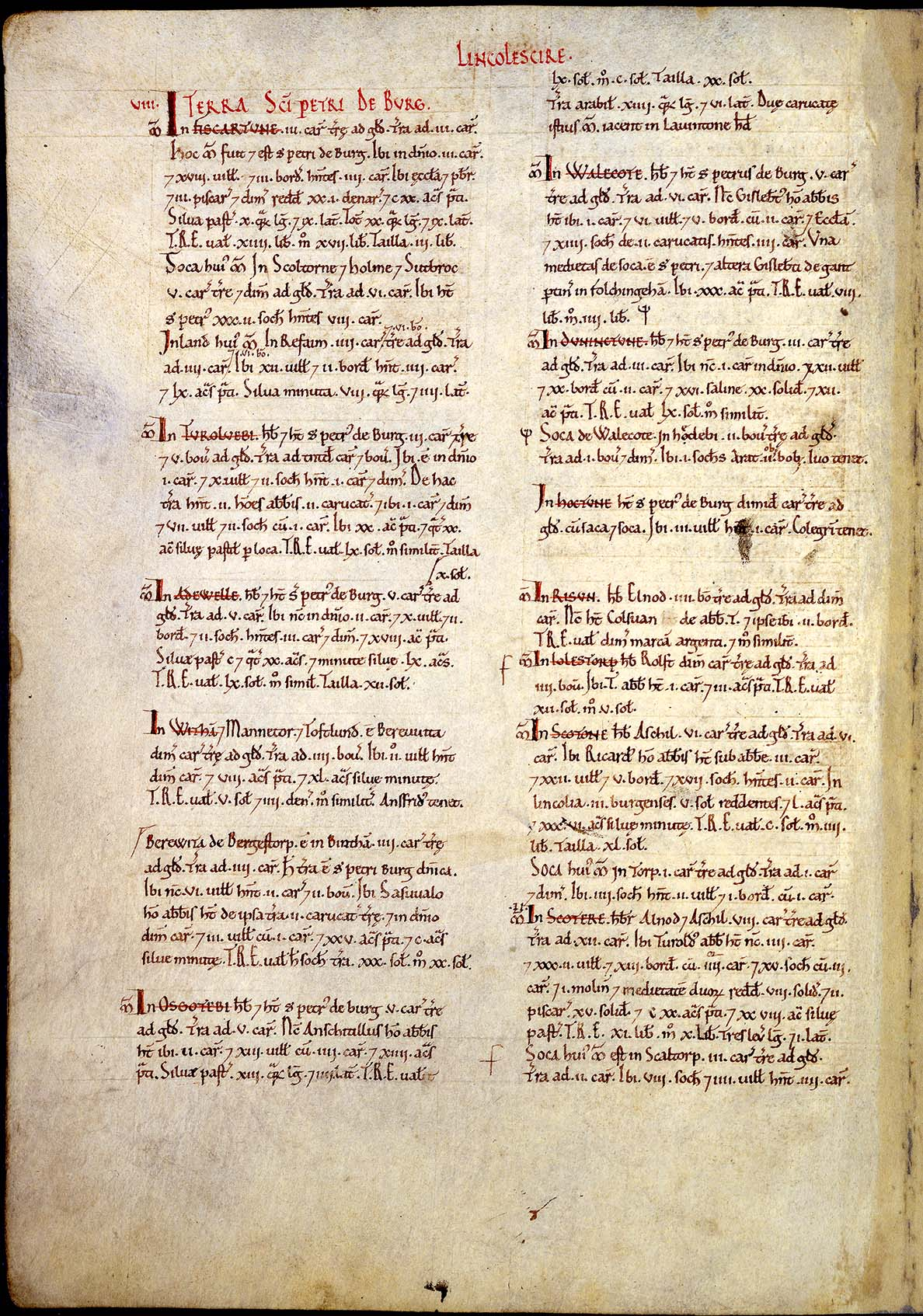 a photograph of a page of the Domesday Book with the word Lincolscire in red at the top