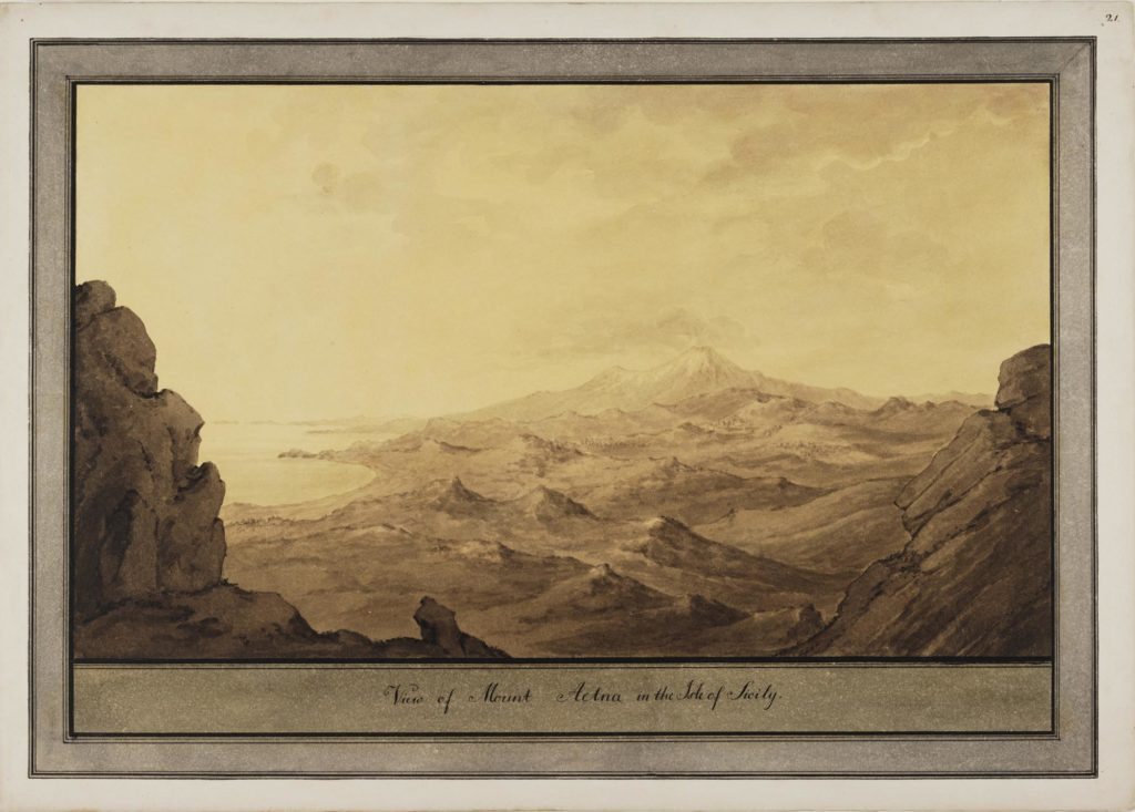 a sketch of a mountain seen in the distance