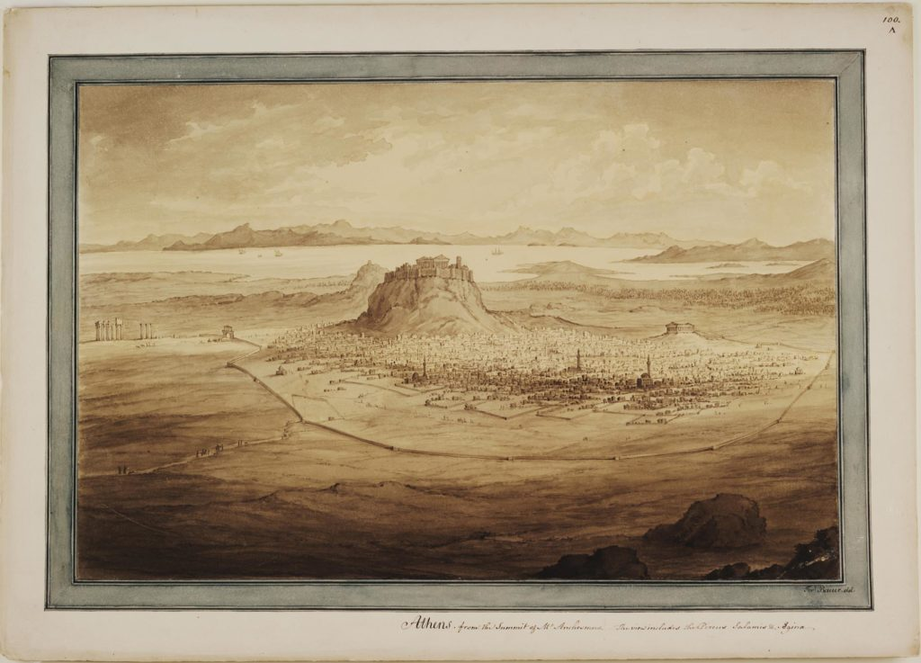 a print of sketch of a city on a hill