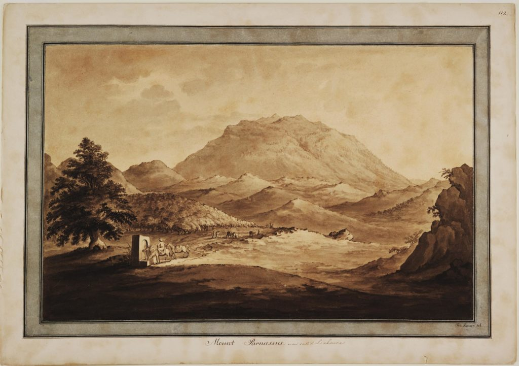 a print of a sketch of a mountain