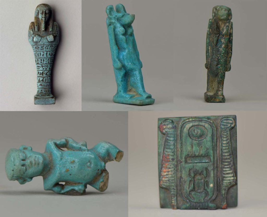 a composite image showing five Egyptian amulets in the shape of mummies, gods and people