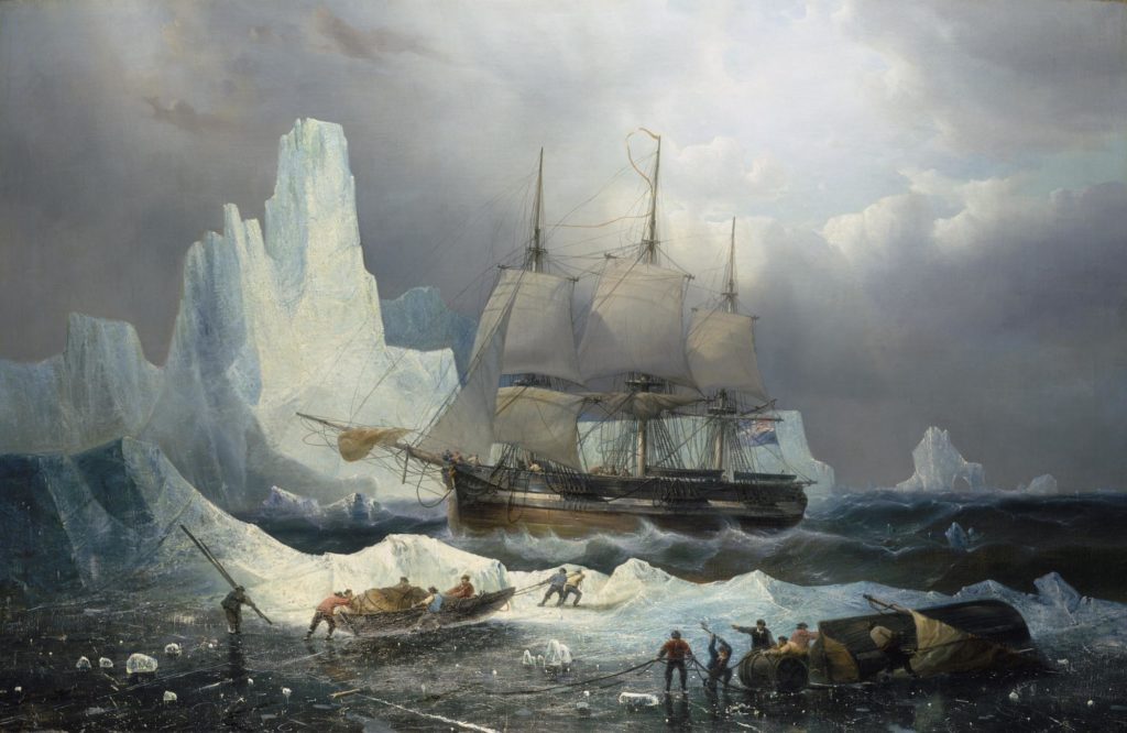 a painting of a ship moored next to icebergs