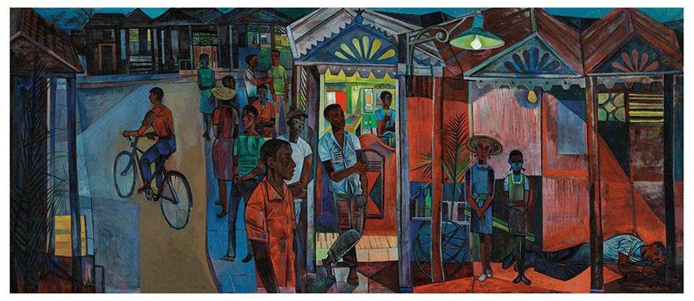 a colourful depiction of Jamaican people spilling out of a doorway onto a street