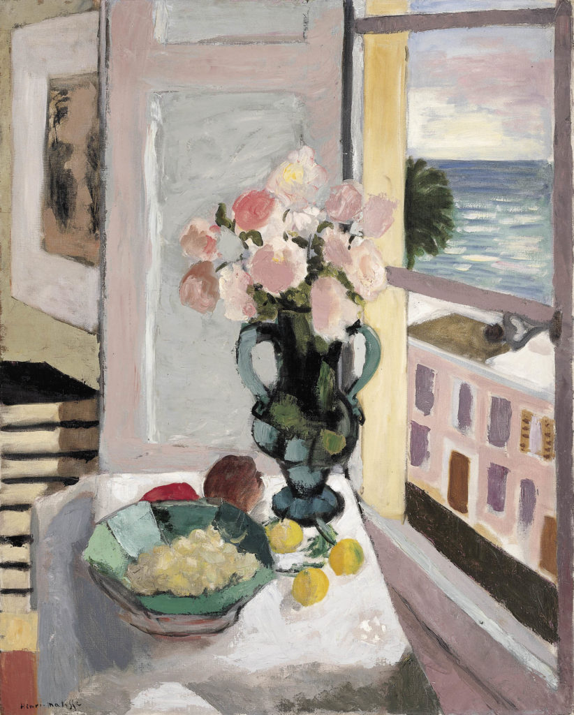 a painting of a vase of flowers on a table next to a window with view out across an ocean