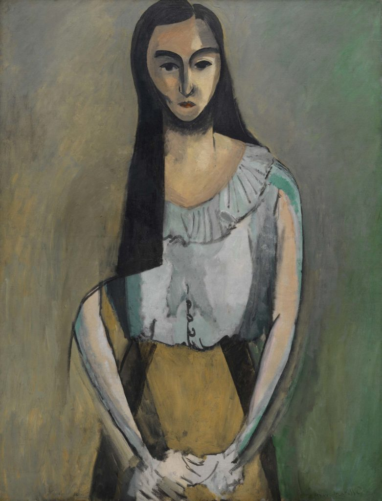 a painting of a young woman with lobg dark hair and an exposed midrift
