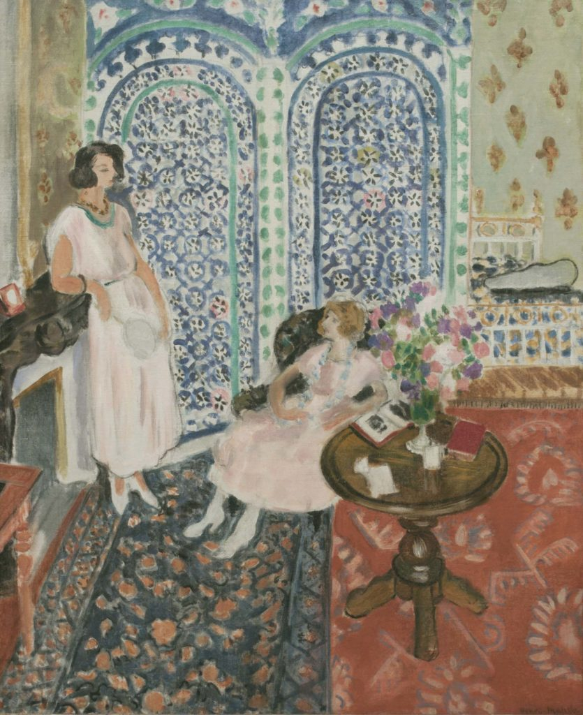 a painting of two women in a drawing room