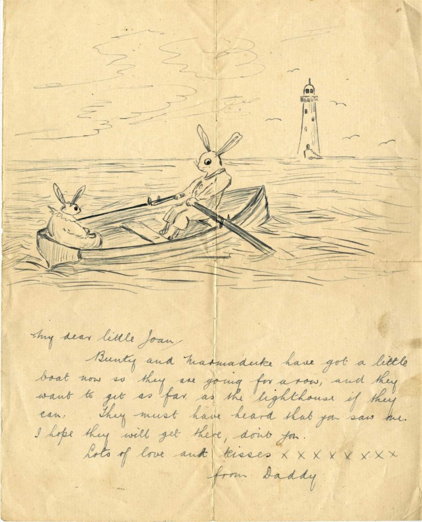a sketch of two bunnies rowing out to sea towards a lighthouse