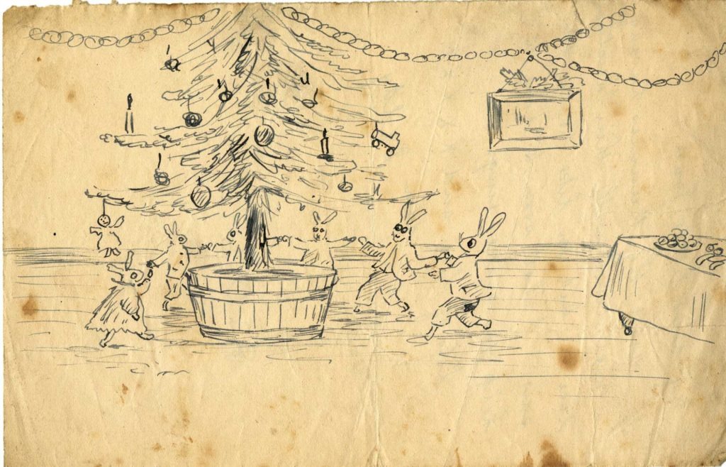 a drawing of bunnies dancing around a Christmas tree