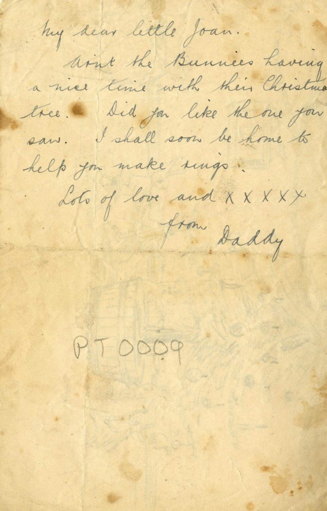 a scan of a letter written to My Little Joany from Daddy