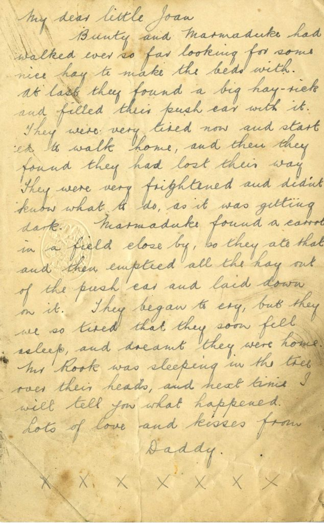 a letter telling the story of two young bunnies who got lost