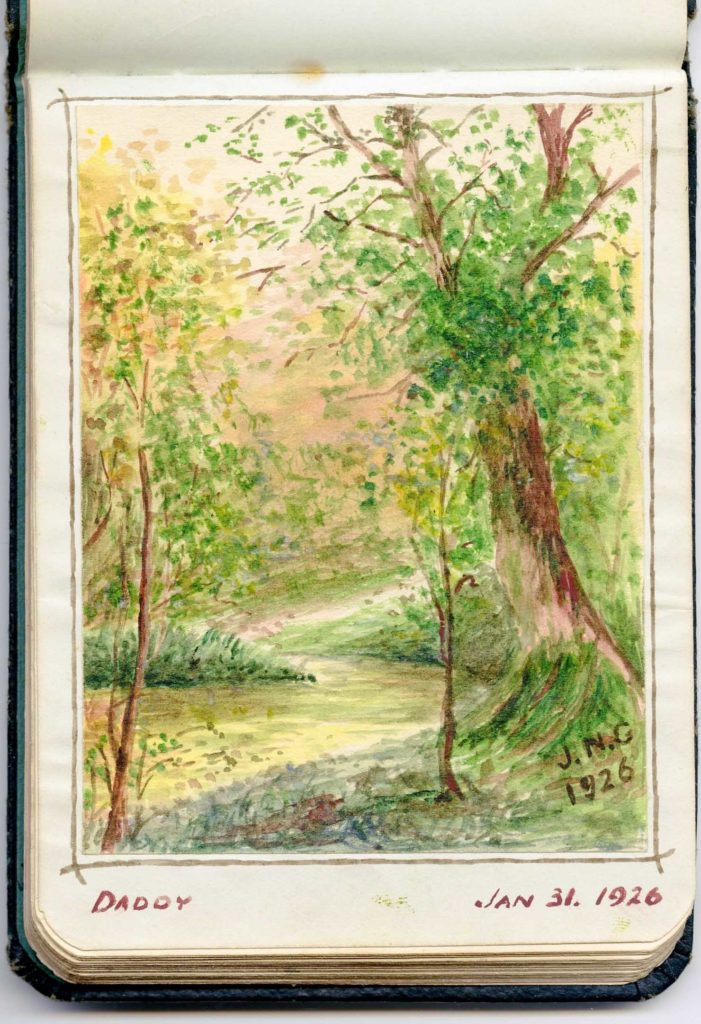 a sketch of a country lane with trees