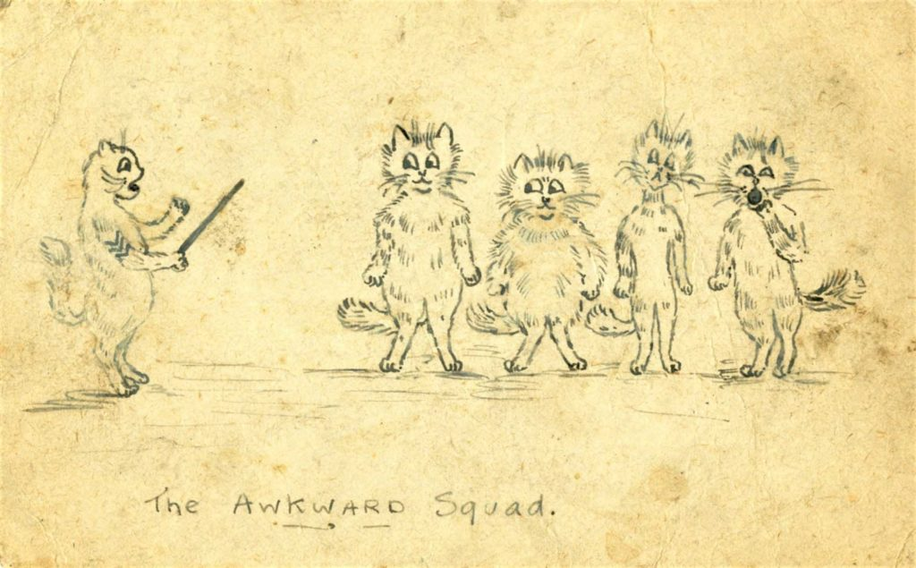 a sketch of a bunch of cats lined up as though for inspection