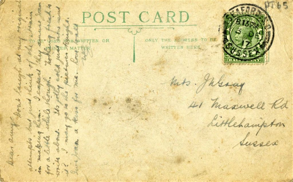 a postcard dated 1917