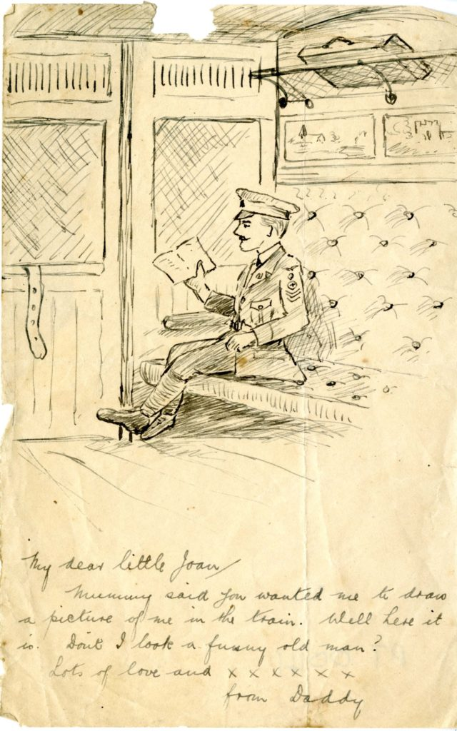 a sketch of a soldier sitting in a railway compartment