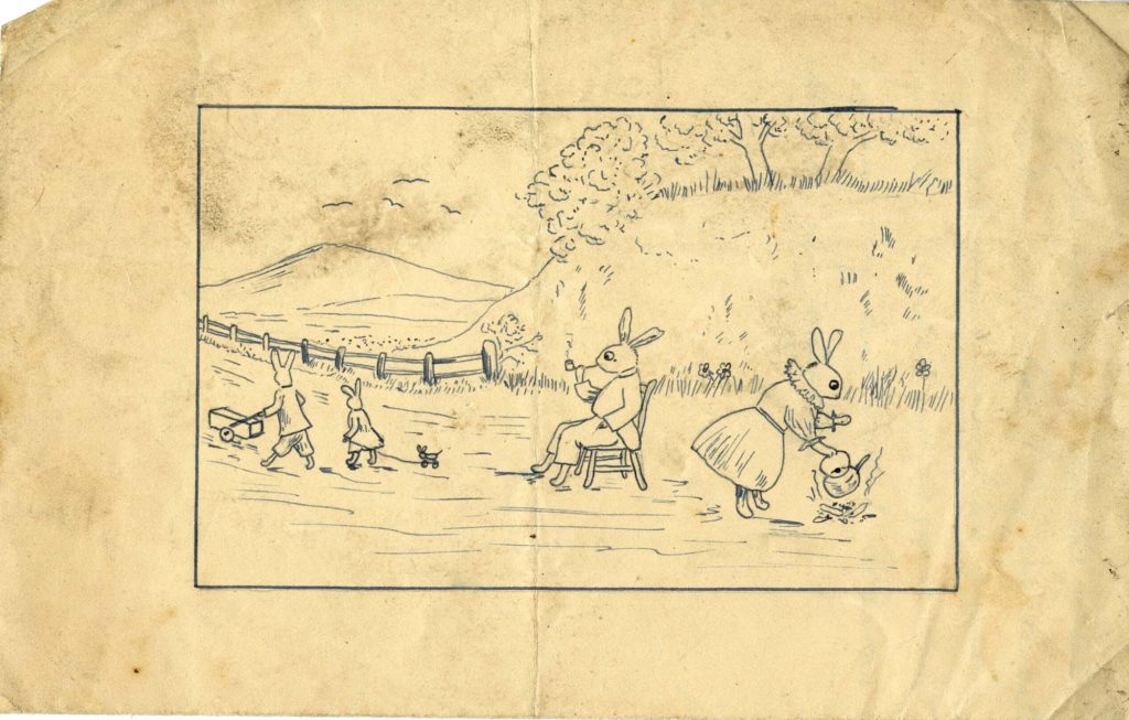 a drawing of a family of rabbits in a lane