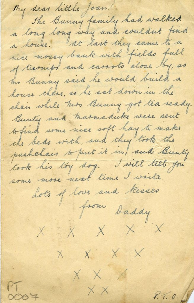 a handwritten letter telling a story about a family of rabbits finding a new home signed lots love and kisses from daddy xxxxxxxxx