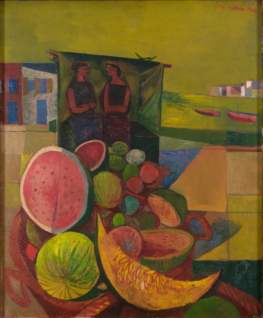 a semi-abstract painting of two people with a profusion of cut melons in the foreground