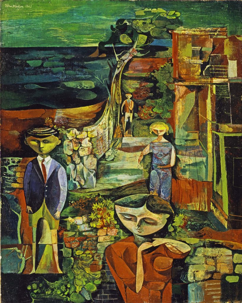 an abstract painting of children