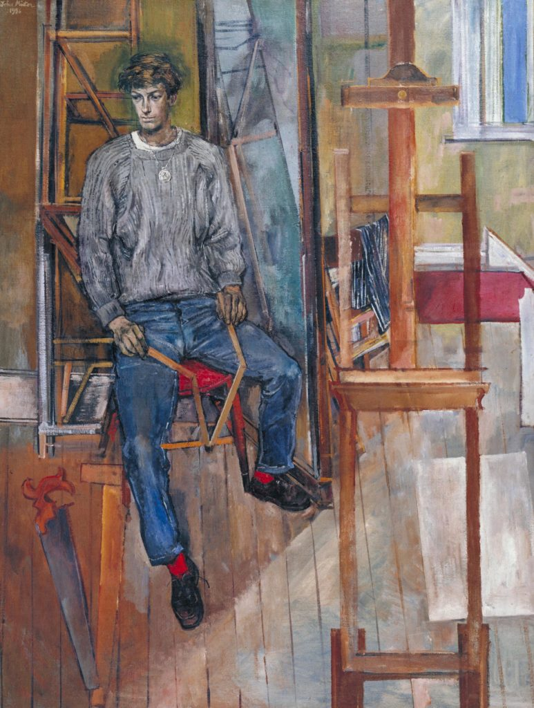 a painted portrait of a sated yung man wearing jeans and a jumper