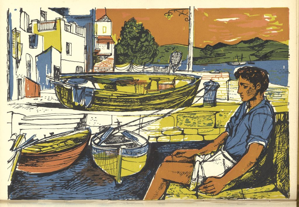 a print of a young man in shorts seated on a quayside
