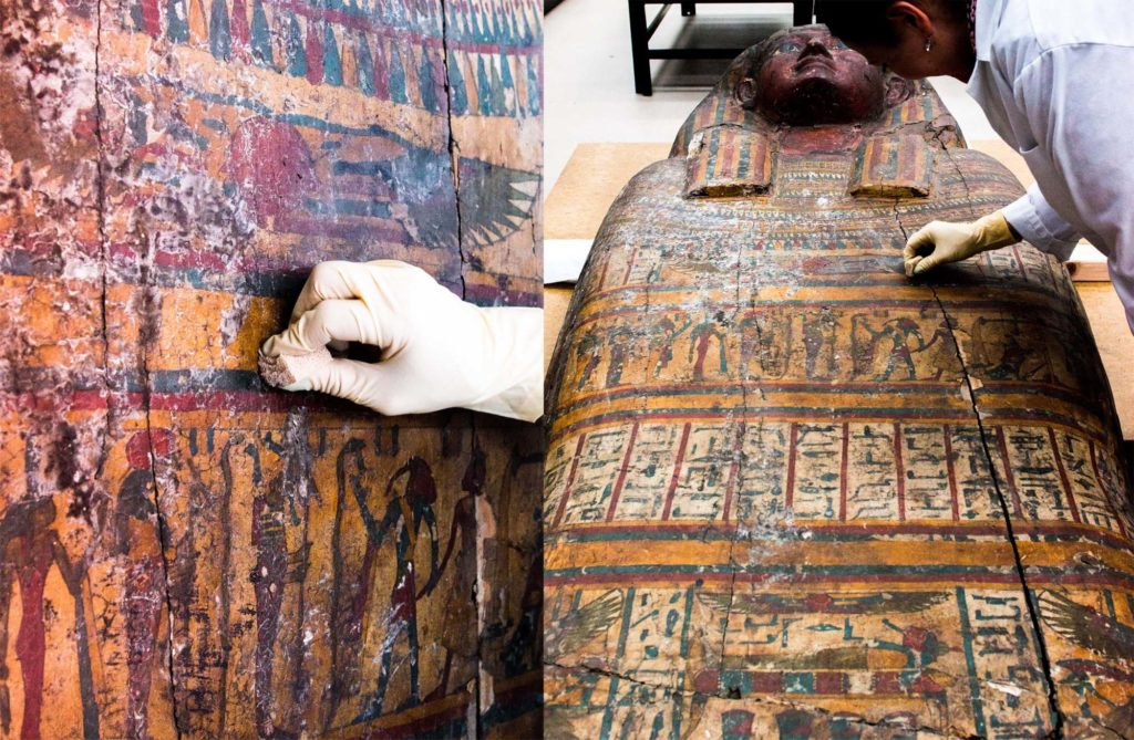 photos of a highly decorated Egyptian coffin in conservation