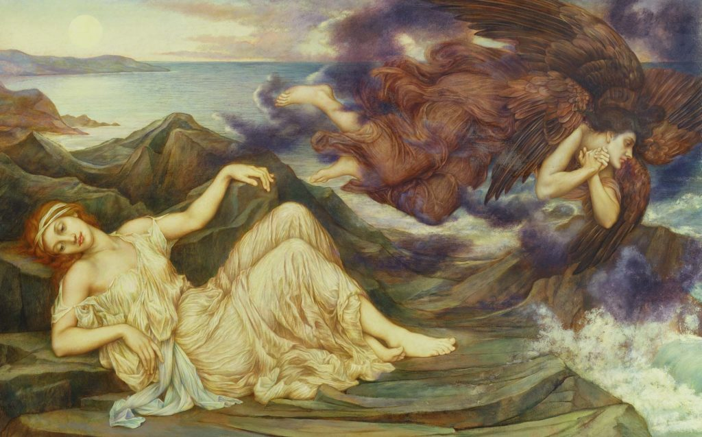 a painting of a two women floating across a coastal landscape