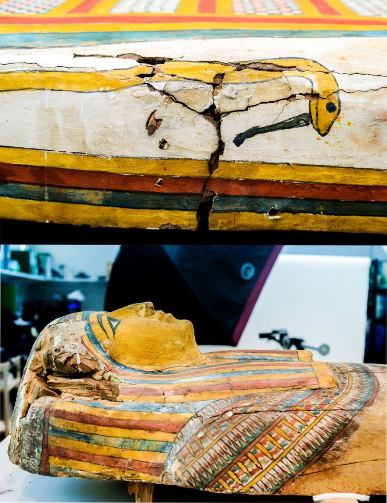 a photo of two parts of an ancient Egyptian coffin