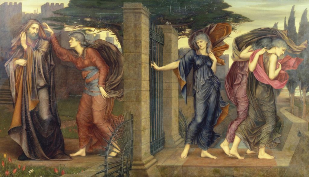 a paintig showing a prcoession of women either side of a gate