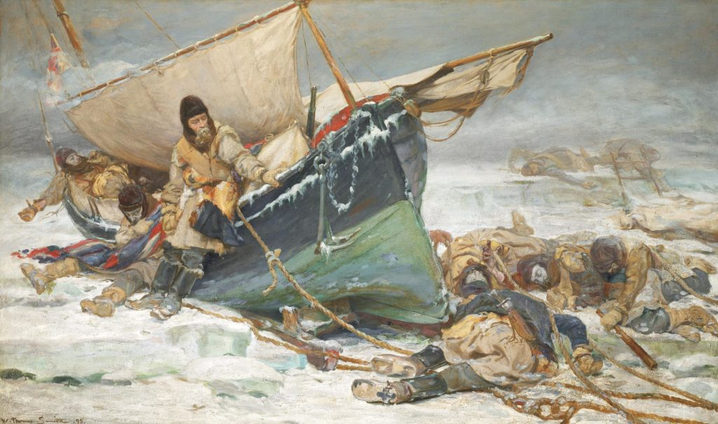 a dramtic painting sjhowing men freezing to death on a small boat trapped in a wasteland of ice