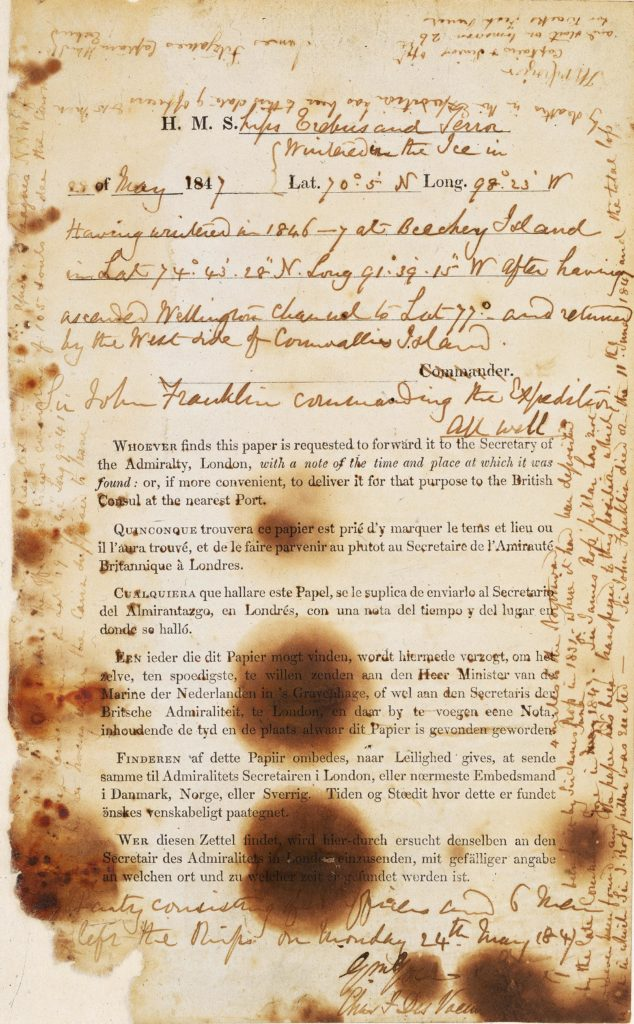 Franklin letter with handwritten notes over a foxed and faded form with official writing on it