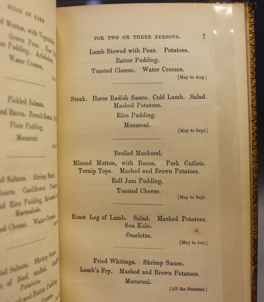 a photo of an open page of a book with a dinner menu on it