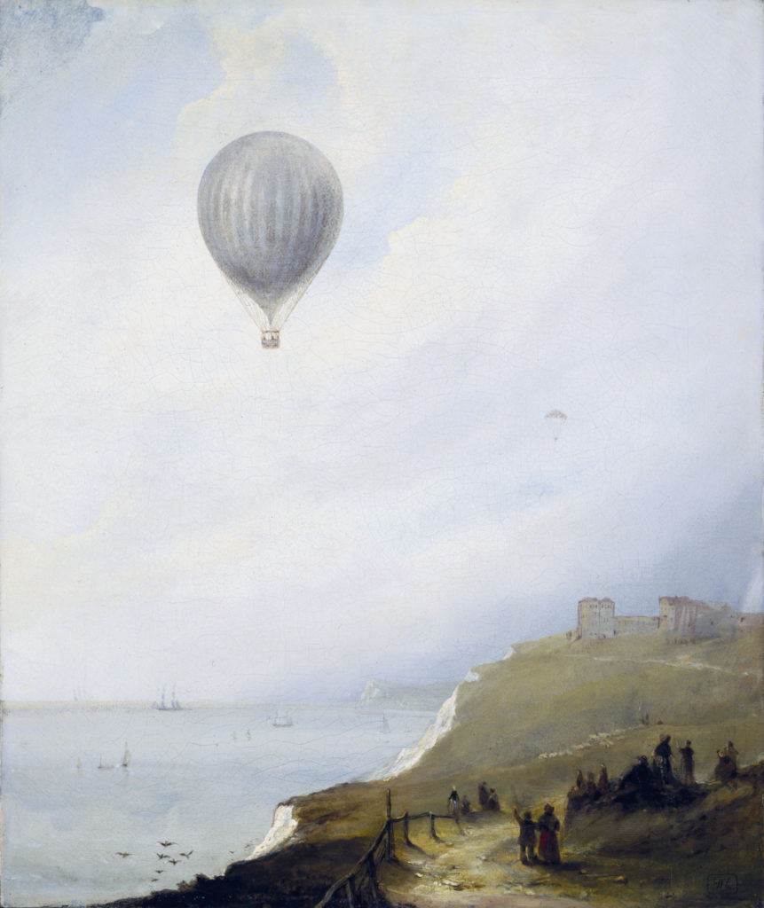 a painting of a balloon floating out across the ocean past a series of white cliffs