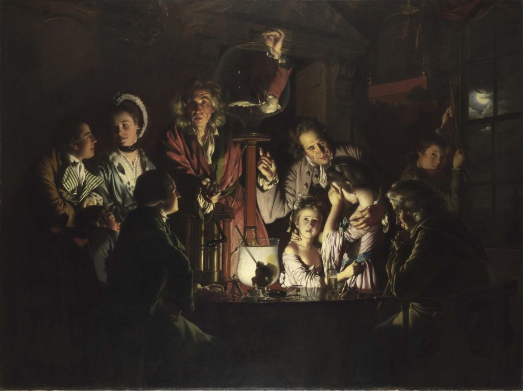 a painting by Joseph Wright of Derby showing an experiment in which a bird is deprived of oxygen in a glass jar