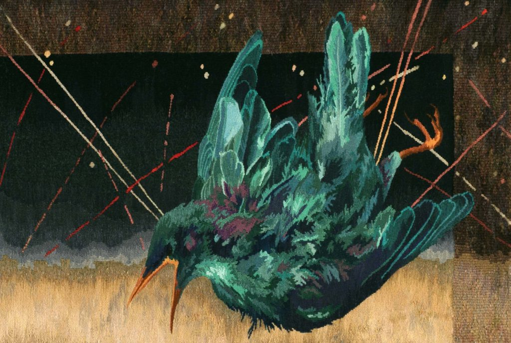 a detail of a tapestry by Barbara Heller showing a starling