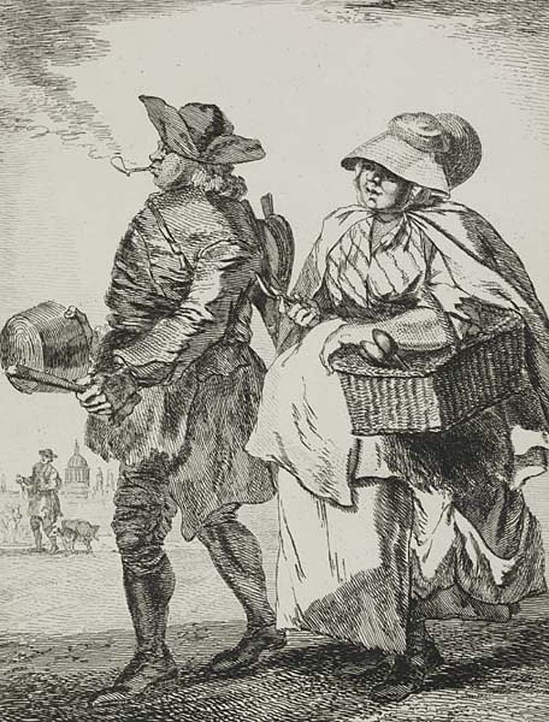 an etching of a couple walking with their wares including a basket and bellows