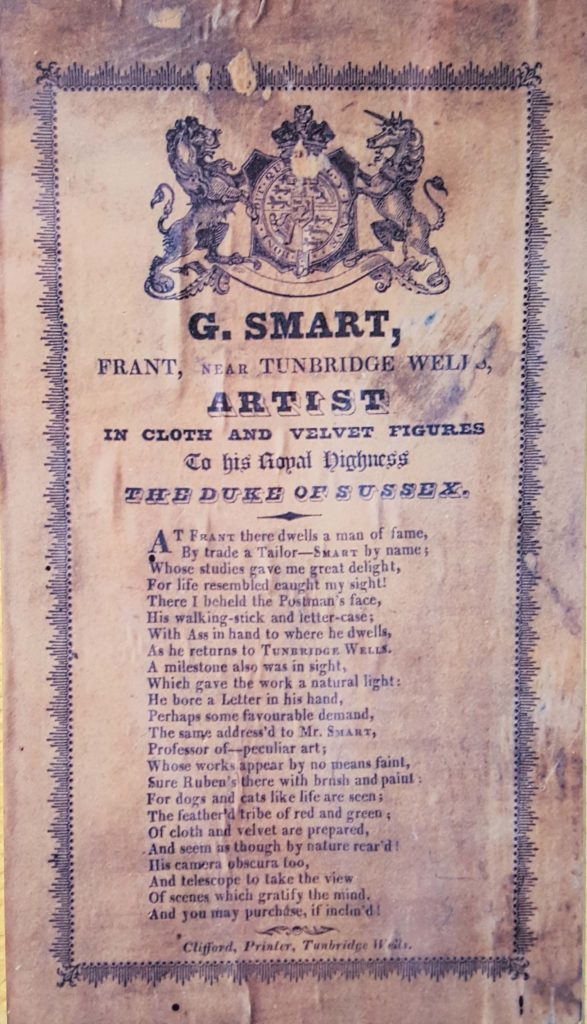 a handbill with a poem written by George Smart